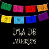 Dia de Muertos - giorno messicano del testo dello Spagnolo di morte decorazione Fotografie Stock Libere da Diritti