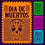 Dia de Muertos - giorno messicano dell'insieme di morte Fotografie Stock Libere da Diritti