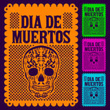 Dia de Muertos - Mexican Day of the death set. Dia de Muertos - Mexican Day of the death spanish text decoration set Royalty Free Stock Photos