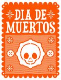 Dia de muertos, Mexican Day of the death spanish text, cute skull vector illustration stock illustration