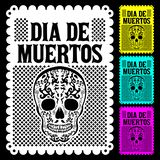 Dia de Muertos Mexican Day of the death spanish text vector poster decoration stock illustration
