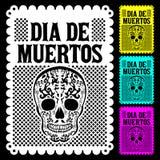 Dia de Muertos Mexican Day van de vector de affichedecoratie van de doods Spaanse tekst stock illustratie