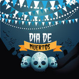 Dia de Muertos skulls and bunting design Royalty Free Stock Image
