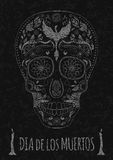 Dia de Muertos Tattoo Skull Day of The Dead Monochrome. Flyer Template. stone texture Royalty Free Stock Image