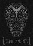Dia de Muertos Tattoo Skull Day of The Dead Monochrome. Flyer Template. stone texture Stock Photos
