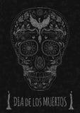 Dia de Muertos Tattoo Skull Day du monochrome mort Calibre d'insecte Texture en pierre Image libre de droits