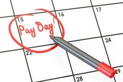 Dia de pagamento no conceito do calendário, 3D ilustração do vetor