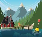 Dia de pesca no lago da montanha ilustração royalty free
