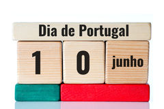 Dia de Portugal on wooden blocks Stock Images