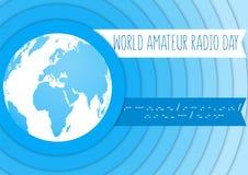 Dia de rádio amador do mundo Ilustração azul e branca do vetor com um globo e umas ondas de rádio Código Morse Foto de Stock
