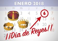 Dia de reyes 2018 spanish appoinment. January 2018 spanish calendar sheet with an appointment for Three wise men day. January six, dia de reyes. Vector Royalty Free Stock Photos