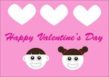 Dia de são valentim feliz com as 2 caras bonitos dos desenhos animados Fotografia de Stock Royalty Free