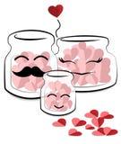 Dia de são valentim feliz, garrafa dos desenhos animados que mantém o coração Fotografia de Stock