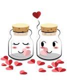 Dia de são valentim feliz, garrafa dos desenhos animados que mantém o coração Fotografia de Stock Royalty Free
