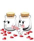 Dia de são valentim feliz, garrafa dos desenhos animados que mantém o coração Foto de Stock Royalty Free