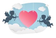 Dia de são valentim, forma do coração e cupido felizes no céu Fotografia de Stock