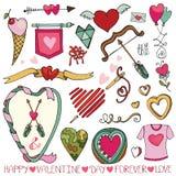 Dia de são valentim, quadro do casamento, corações, elemento da decoração Foto de Stock