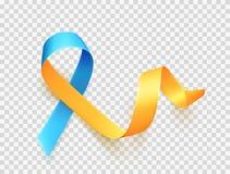 Dia de Síndrome de Down do mundo 21 de março Símbolo amarelo azul realístico da fita sobre o fundo transparente Vetor ilustração royalty free
