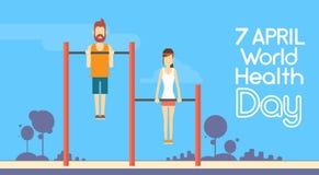 Dia de saúde de mundo 7 April Holiday de Chin Up Bar Exercise Workout da mulher do homem da aptidão do esporte Fotografia de Stock Royalty Free