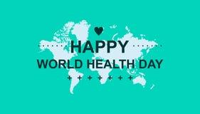 Dia de saúde de mundo feliz para a bandeira, o cartão e o outro com cor fresca ilustração do vetor