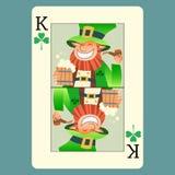 Dia de St Patrick do duende do verde do rei do cartão de jogo Fotografia de Stock Royalty Free