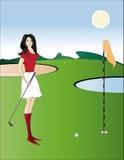 Dia de Sun. Uma menina bonita joga o golfe Fotos de Stock Royalty Free