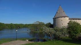 Dia de Sunny May na fortaleza velha de Ladoga Região de Leninegrado, Rússia vídeos de arquivo