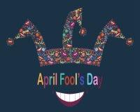 Dia de tolo de abril Fundo engraçado com chapéu do bobo da corte Foto de Stock Royalty Free