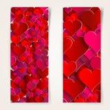 Dia de Valentim. Cartões abstratos com corações de papel Foto de Stock