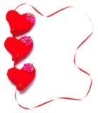 Dia de Valentim - corações vermelhos Fotos de Stock