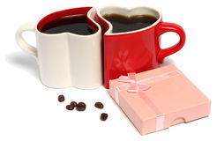 Dia de Valentim de copos de café Imagens de Stock