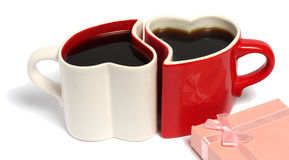 Dia de Valentim de copos de café Fotografia de Stock