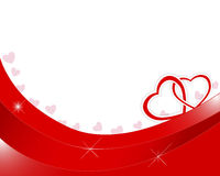 Dia de Valentim. Dois corações de papel entrelaçados. Imagem de Stock