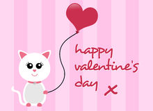 Dia de Valentim feliz Cat Greeting Foto de Stock Royalty Free