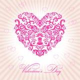 Dia de Valentim feliz do coração floral abstrato Fotos de Stock Royalty Free