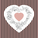 Dia de Valentim, ilustração do casamento com coração das flores Fotografia de Stock