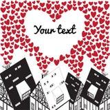 Dia de Valentim, ilustração do casamento com coração e casas velhas Fotos de Stock