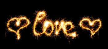 Dia de Valentim - o amor fez um chuveirinho no preto Imagens de Stock Royalty Free