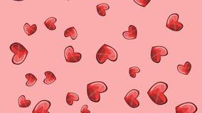 Dia de Valentim ou projeto feliz do casamento - grupo de 5 efeitos de animação - corações vermelhos filme