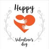 Dia de Valentim - rotulação pintado à mão com coração e mãos Ilustração romântica do coração perfeita para o cumprimento do proje Imagens de Stock