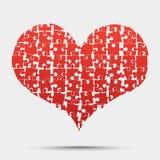 Dia de Valentim vermelho do coração do enigma da parte, amor Fotografia de Stock