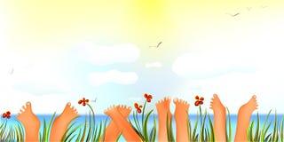 Dia de verão alegre com dedos do pé acima Fotos de Stock Royalty Free