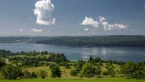 Dia de verão morno no lago Constance Timelapse video estoque