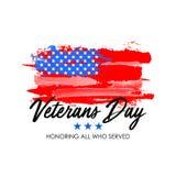 Dia de veteranos com fundo da bandeira dos EUA Projeto do cartaz de Memorial Day Honrando tudo que serviu Imagem de Stock