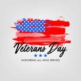 Dia de veteranos com fundo da bandeira dos EUA Projeto do cartaz de Memorial Day Honrando tudo que serviu imagens de stock royalty free