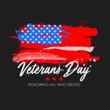 Dia de veteranos com fundo da bandeira dos EUA Projeto do cartaz de Memorial Day Honrando tudo que serviu Fotografia de Stock