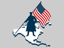 Dia de veteranos Homem com a bandeira dos E.U., militar Continente America do Norte Veteranos dos heróis da guerra das honras Imagem de Stock Royalty Free