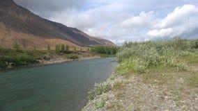 Dia de Windy August no banco do soluço do rio Ural polares, Rússia video estoque