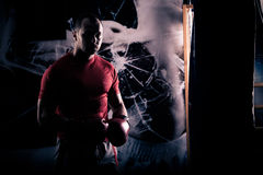 Dia dei calci al pugilato del pugile come esercizio per la grande lotta Il pugile colpisce il punching ball Giovani treni del pug Immagine Stock