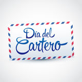 Dia del Cartero - Mailman day spanish text, National Thank A Mailman Day. Vector card - eps available Stock Image